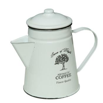 Nostalgische Emaille-Kaffekanne mit Deckel, antik weiß