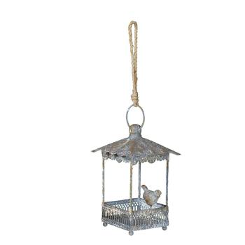 Vogelhaus zum hängen aus Metall antikgrau/rost - eckig