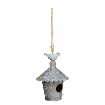 Vogelhaus zum hängen aus Metall antikgrau/rost - rund