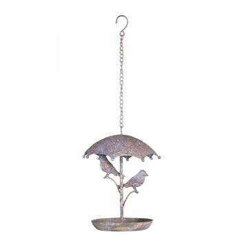 Vogelbad zum hängen aus Metall antikgrau/rost - rund