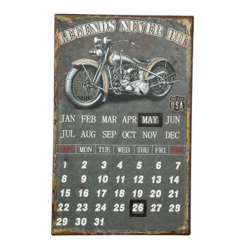 Metallbild Kalender - Biker 25 x 40 cm