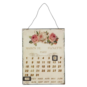 Metallbild Kalender - Rosen 25x33cm