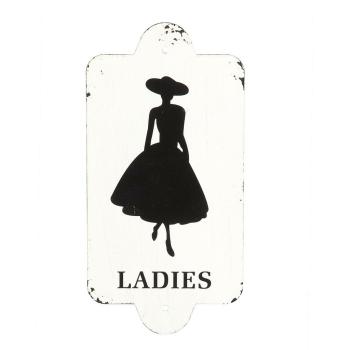 Metallbild antik - WC Ladies 28 x14cm, schwarz/weiß