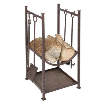 Kaminbesteck mit Holzständer, Eisen antikbraun