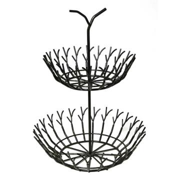 Obst-Doppelschale FULIGO, Metall schwarz