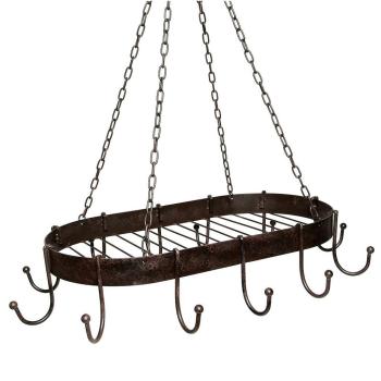 Topfhänger aus Eisen mit Haken - antikbraun 57 cm