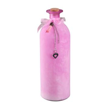 Dekoflasche rosa in geeistem Look, 27 cm