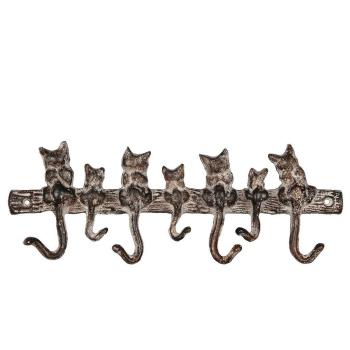 Garderobenhaken 7 Katzen aus Gusseisen
