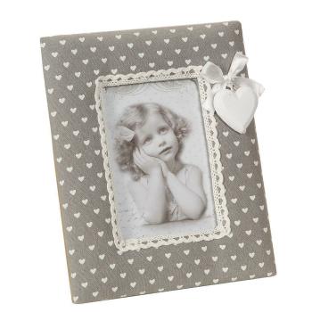 Stoff Fotorahmen  - grau mit Herzen für Bilder 13 x...