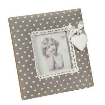 Fotorahmen Stoff grau für Bilder 9 x 9 cm