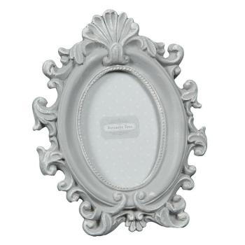 Ovaler Bilderrahmen, Romantik-Look - grau für Bilder...