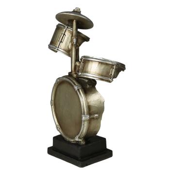 Dekofigur Schlagzeug, antiksilber, 33 cm