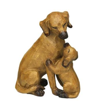 Dekofigur Hund mit Welpe braun - gross, 21 cm