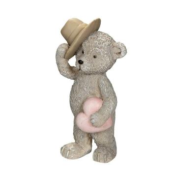 Dekofigur Bär mit Hut & Herz 9 cm