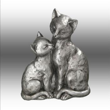 Dekofigur Katzen Paar, antiksilber, 22 cm