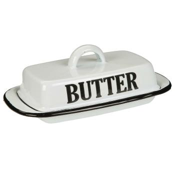 Emaillierte Butterdose, antik weiß