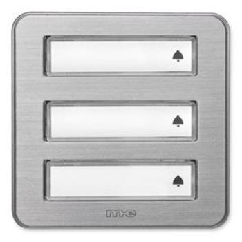 Klingeltaster, 3-fach, Aluminium gebürstet