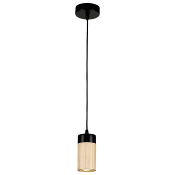 Pendelleuchte ANNICK schwarz/Eiche 1fach  inkl. LED/GU10/5W