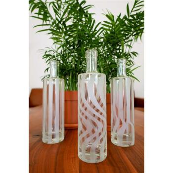 Flaschenset Titano Wasser 1, 3er Set Klarglas/Gravur