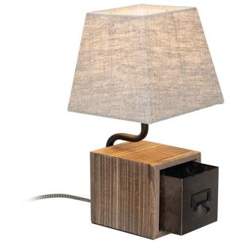 Tischleuchte CASKET Holz antik, 1 x E27