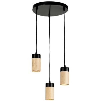 Pendelleuchte ANNICK schwarz/Eiche 3 x GU10 inkl. LED/5W