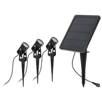 LED Solar- Erdspießstrahler, 3 x LED/1W