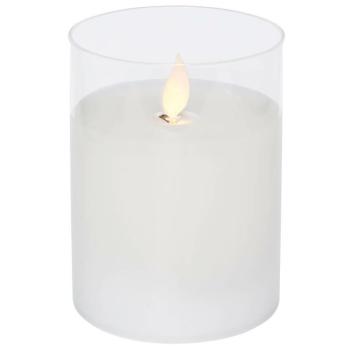 Echtwachskerze M-TWINKLE, 1 orange flackernde LED, in Glas