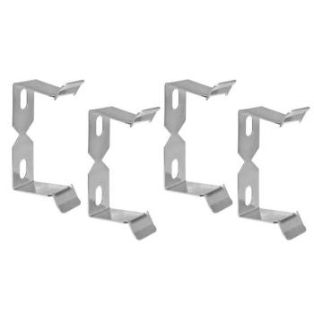 Halteklammer-Set für Tischsteckdosen, Metall chrom