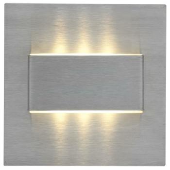 Wandeinbaustrahler, 2 x 3 LED/12V-DC/0,3W, Edelstahl