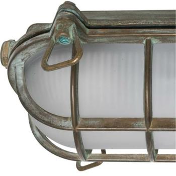 Moretti Schiffsleuchte oval, Altmessingguss patiniert, Glas weiß 200.09.AR