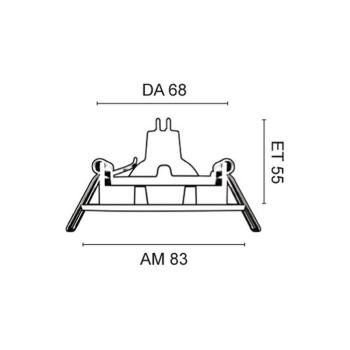 Rutec Einbaustrahler aus Aluminium, 1 x GU5,3/12V, schwenkbar, messing