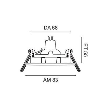 Rutec Einbaustrahler aus Aluminium, 1 x GU5,3/12V, schwenkbar, Chrom