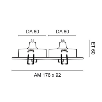 Rutec 2-fach Einbaustrahler, 2 x GU5,3/12V, einzeln schwenkbar, Alu matt gebürstet