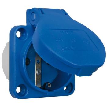 PCE Einbausteckdose mit Klappdeckel, blau, 230V/16A