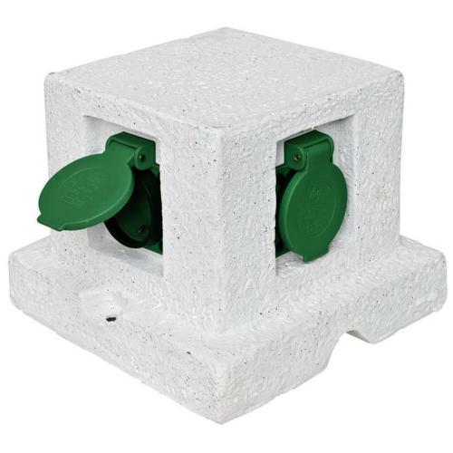 Steckdosenverteiler ohne Zuleitung mit 4 Steckdosen, Kunststein