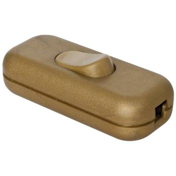 Schnurschalter, 1-polig mit N-Klemme, gold 2 x 0,75 mm²