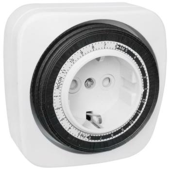 Analoge Steckdosen-Zeitschaltuhr, 230V/16A, weiß