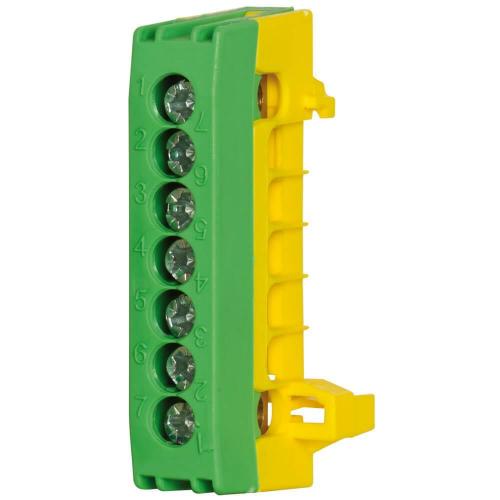 Schutzleiterklemme für Normschiene, 16 mm², 7-polig