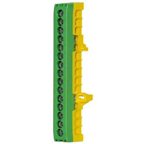 Schutzleiterklemme für Normschiene, 16 mm², 15-polig