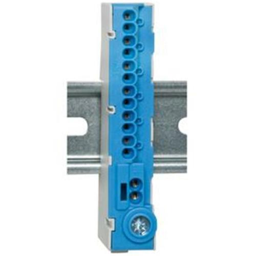 Klemmleiste Neutralleiter für Hutschiene, 12-polig, blau