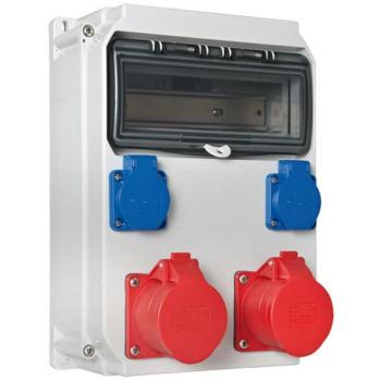 PCE Wand-Steckdosenverteiler, 2 x Schutzkontakt, 2 x CEE,