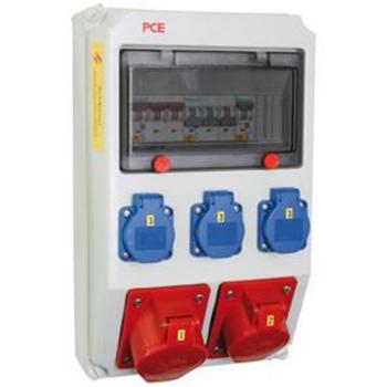 PCE Wand-Steckdosenverteiler 3 x Schutzkontakt, 2 x CEE,