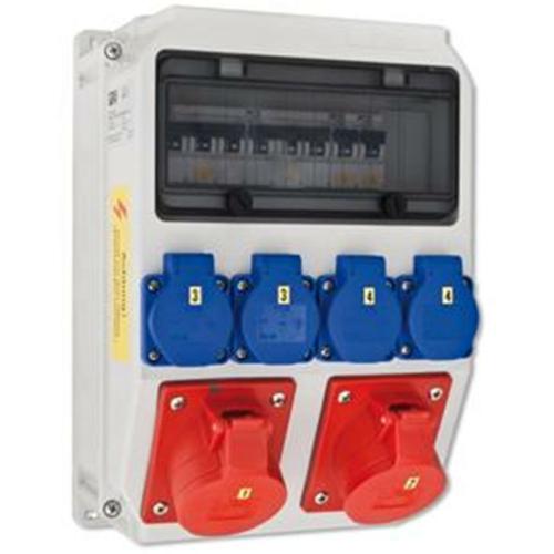 PCE Wand-Steckdosenverteiler 4 x Schutzkontakt, 2 x CEE,