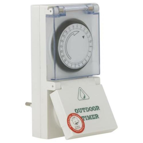 Mechanische Steckdosenschaltuhr mit Tagesprogramm, IP54