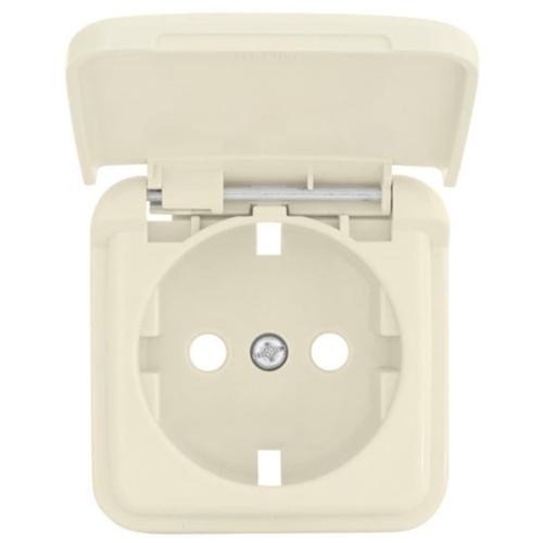 Kombi-Steckdosenplatte, UP, weiß, mit Klappdeckel, Klein SI®