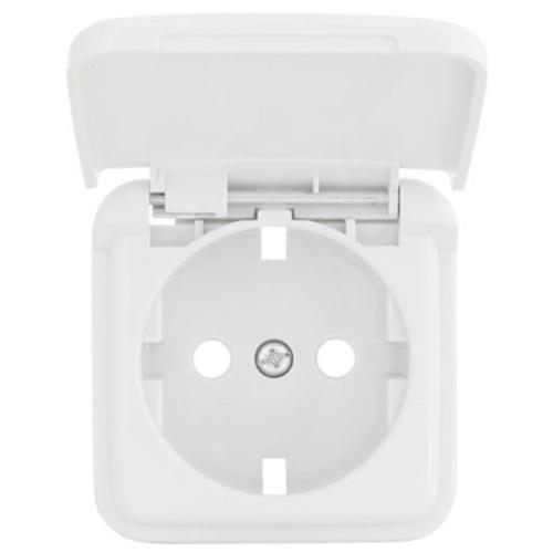 Kombi-Steckdosenplatte, UP, reinweiß, mit Klappdeckel, Klein SI®