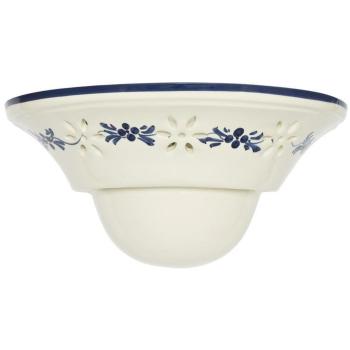 Wandleuchte, Keramik weiß mit blauem Blumenmuster,...