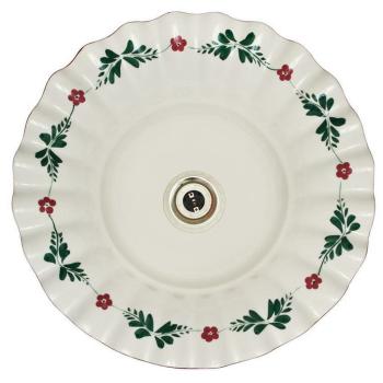 Pendelleuchte, Keramik weiß, handbemalt mit roten...