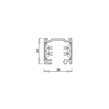 3-Phasen-Stromschiene 2m, Aluminium silber