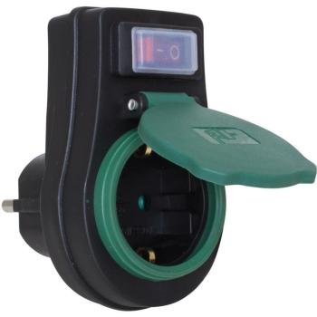 Zwischenstecker mit Schalter, schwarz/grün, IP44, REV